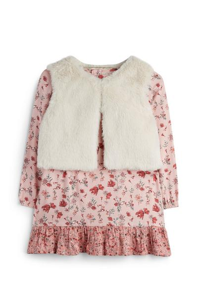 Baby Girl Floral Dress With Faux Fur Gilet