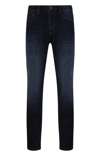 Dark Blue Straight Leg Stretch Jeans
