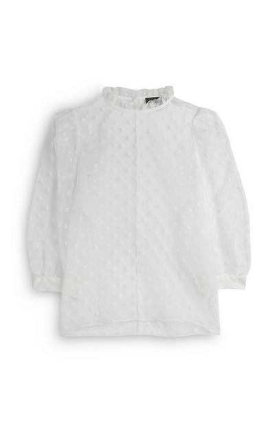 White Organza Pie Crust Collar Blouse
