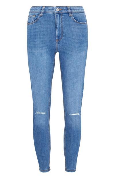 Mittelblaue Skinny Jeans im Used-Look