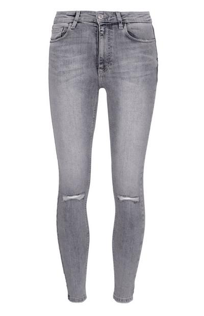 Grey Ripped Skinny Jeans