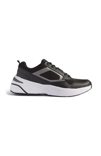 Black And White Lace Up Trainer