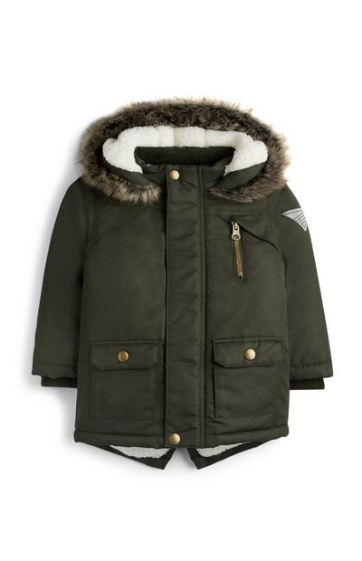 Baby Boy Fur Lined Khaki Parka Jacket