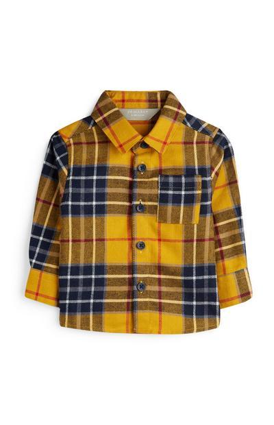 Baby Boy Check Mustard Shirt