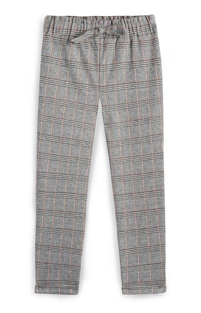 Younger Girl Grey And Pink Check Trousers