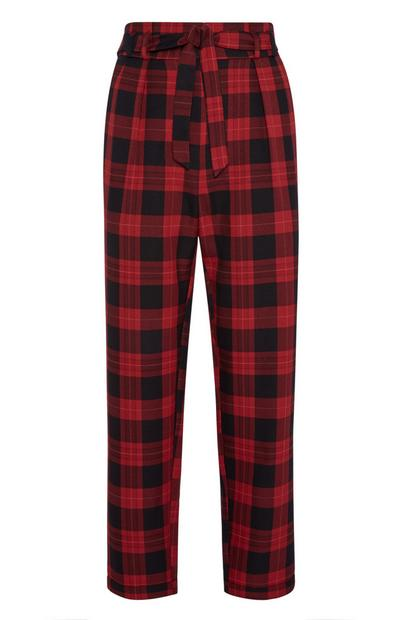 Red Check Paperbag Peg Leg Trousers