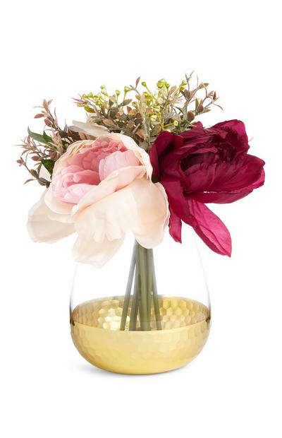 Large Mixed Faux Flower And Foliage In Gold Vase