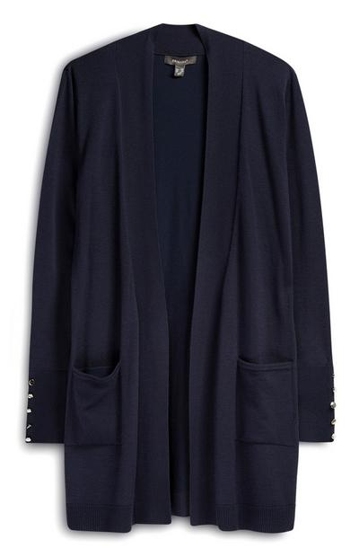 Navy Loose Cardigan With Pockets
