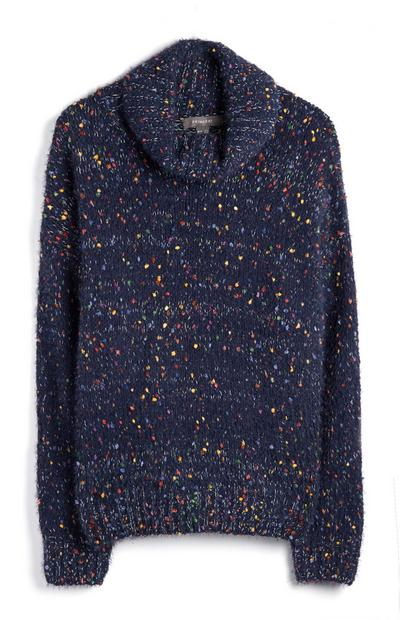 Navy Speckled Roll Neck Jumper