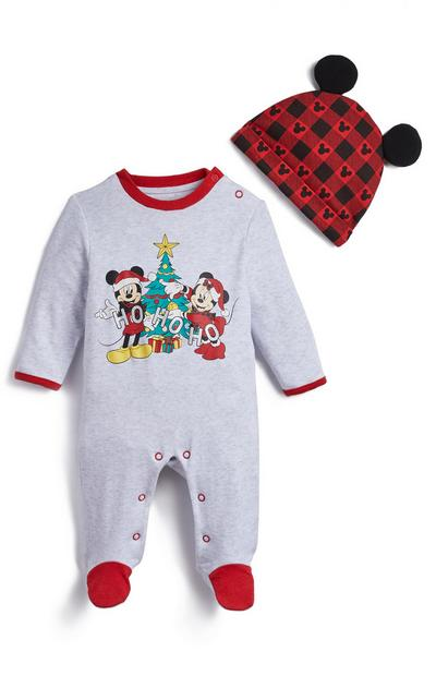 Baby Red Mickey Mouse Christmas Velour Sleepsuit and Hat