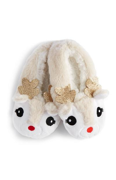 White Reindeer Slipper Socks