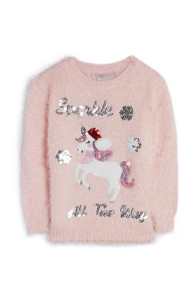 Younger Girl Pink Fluffy Sparkle All The Way Unicorn Jumper