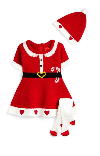 Baby Girl Minnie Mouse Fair Isle Dress Leggings And Hat Outfit