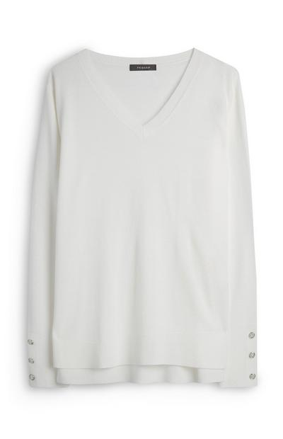 White Super Soft Viscose V-Neck T-Shirt