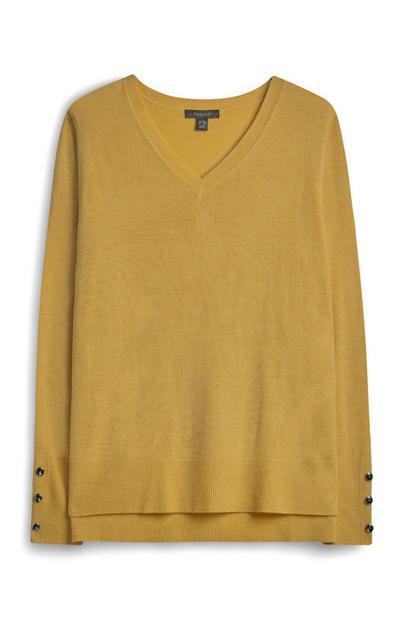 Mustard V Neck Button Sleeve Jumper