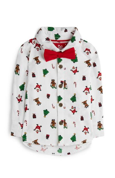 Baby Boy White Christmas Shirt And Red Bow Tie