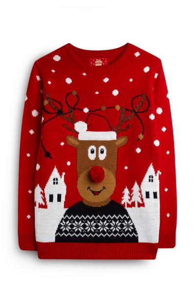 Older Boy Red Rudolph Jumper