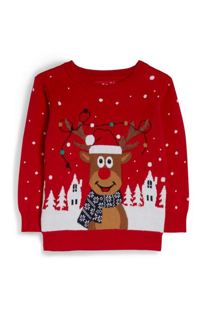 Baby Boy Red Rudolph Wintery Christmas Jumper