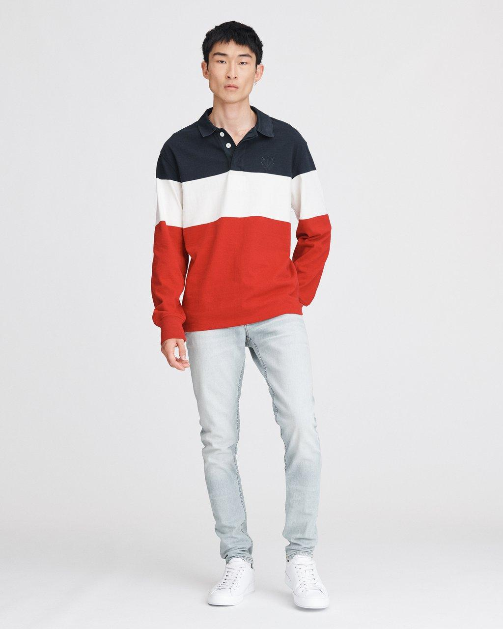 COLOR BLOCK LONG SLEEVE RUGBY