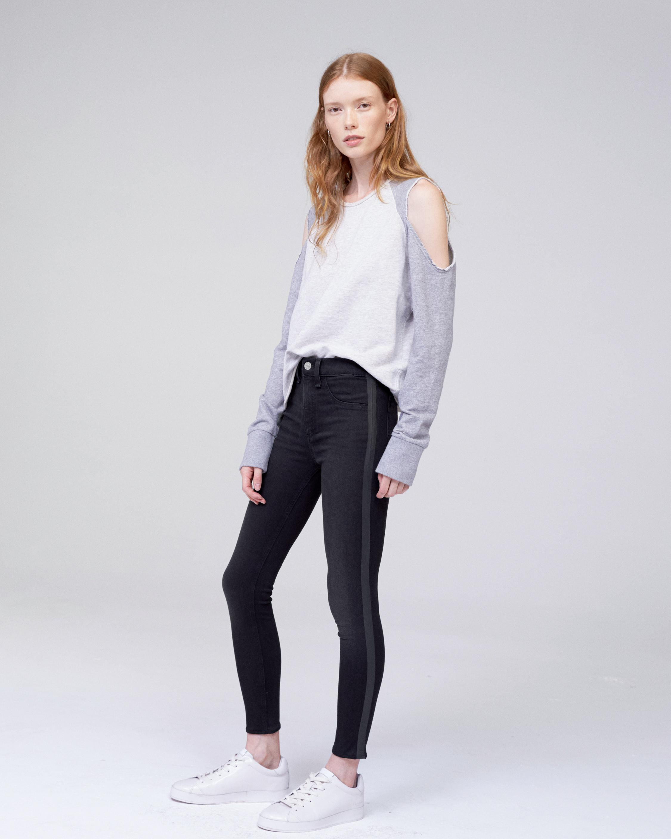 HIGH RISE ANKLE SKINNY WITH BLACK TAPE