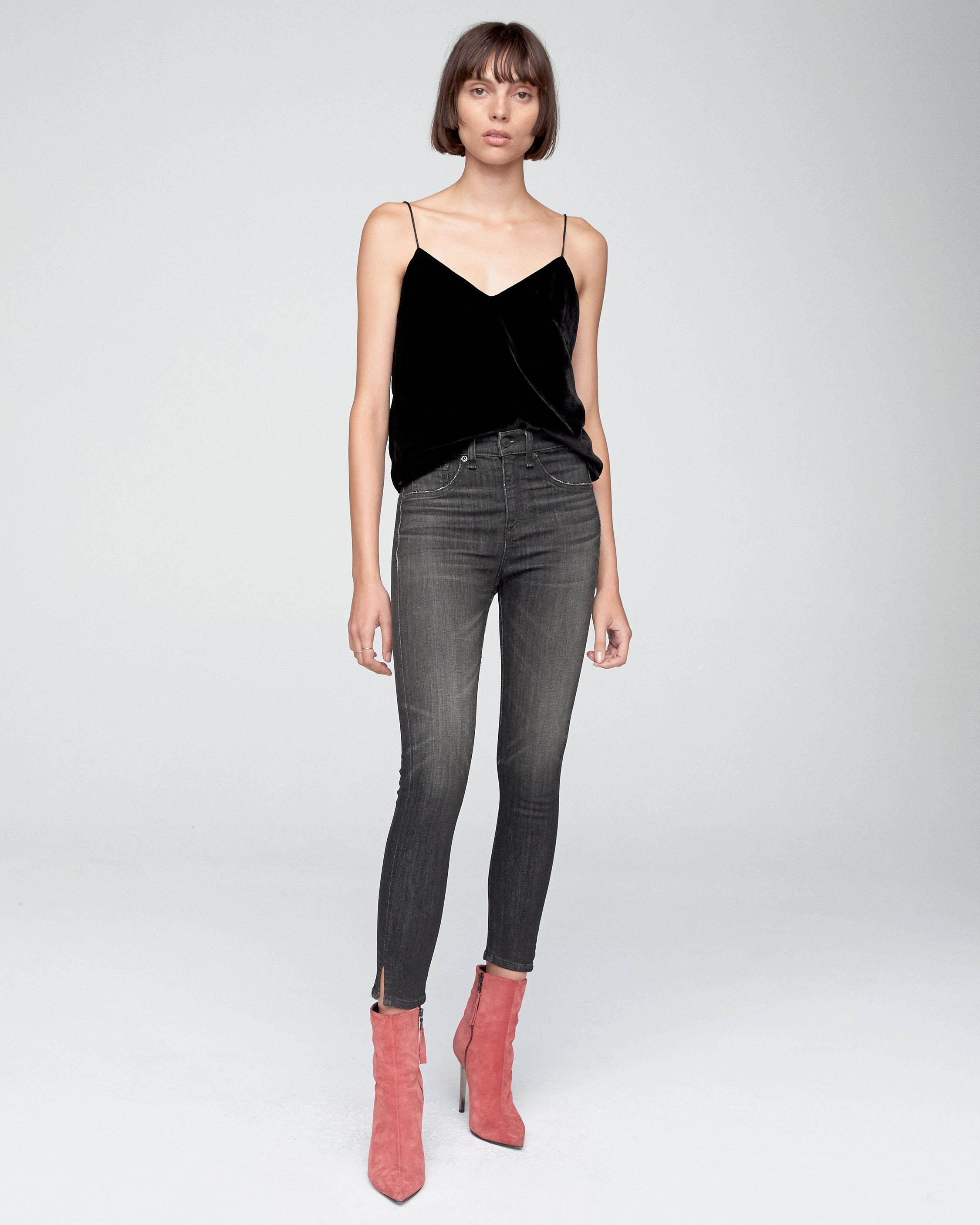 HIGH RISE ANKLE SKINNY With SLITS