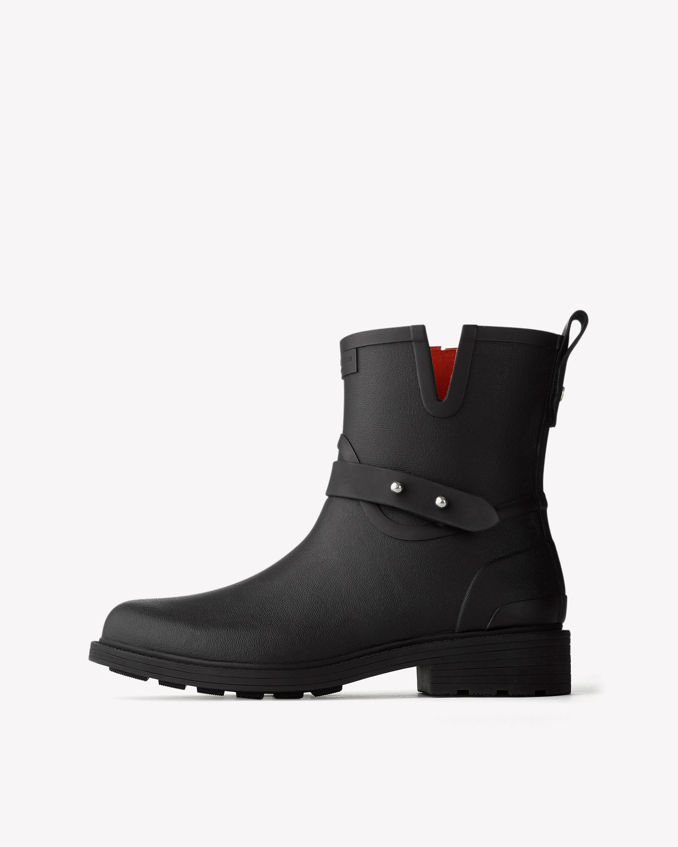 Rag & Bone - Black Moto Rain Boots Women
