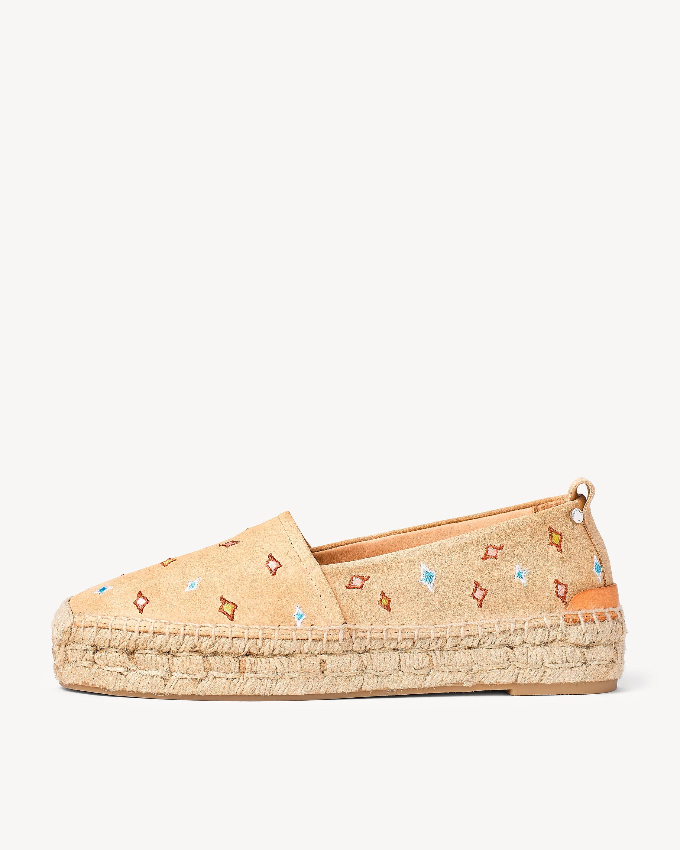 Rag & Bone Woman Adria Embroidered Suede Espadrilles Tan Size 36 Rag & Bone weEzx