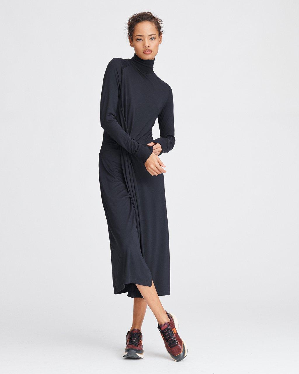 DRAPED SHAW MIDI DRESS