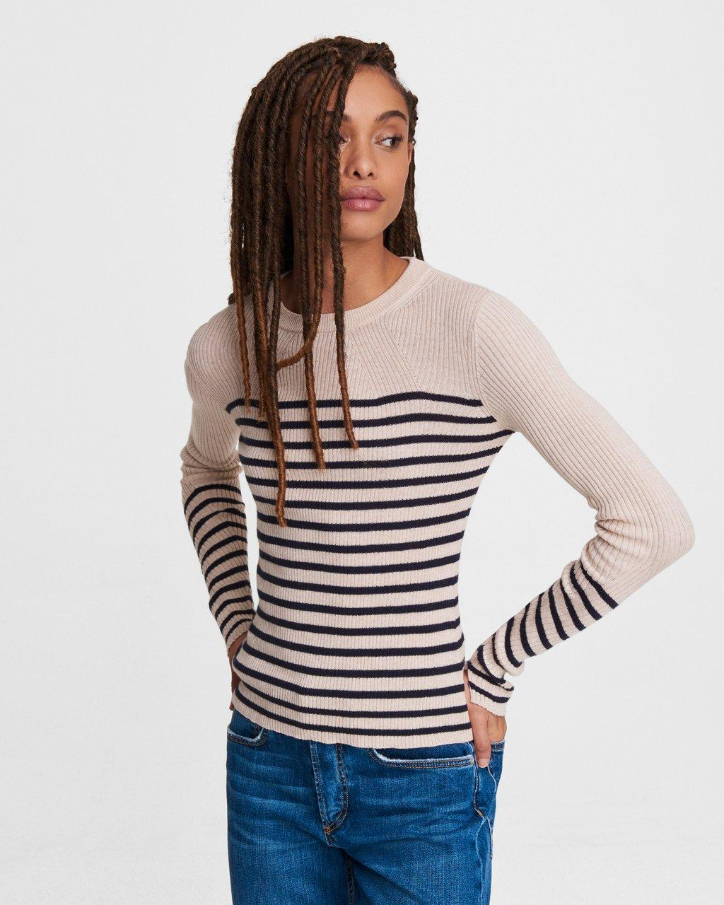 Kate Striped Cotton Cashmere Long Sleeve