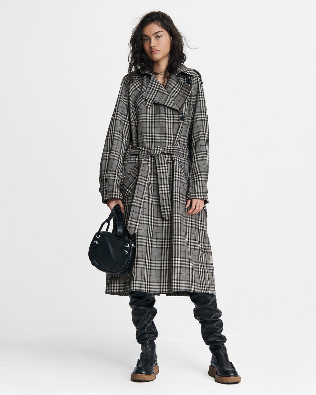 Harris Plaid Cotton Blend Trench
