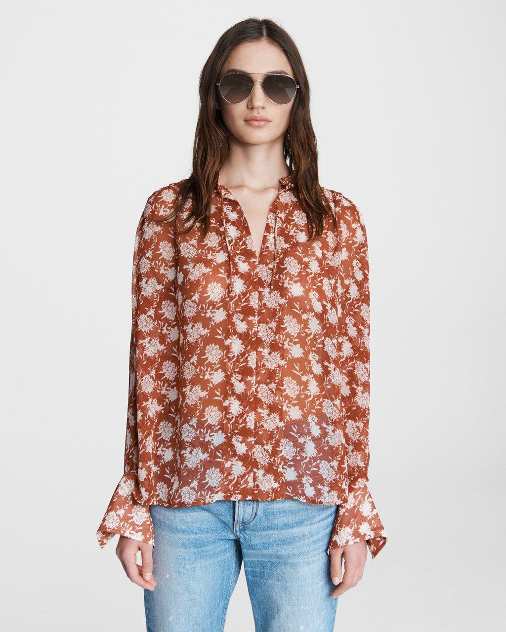 Carly Floral Tie Blouse