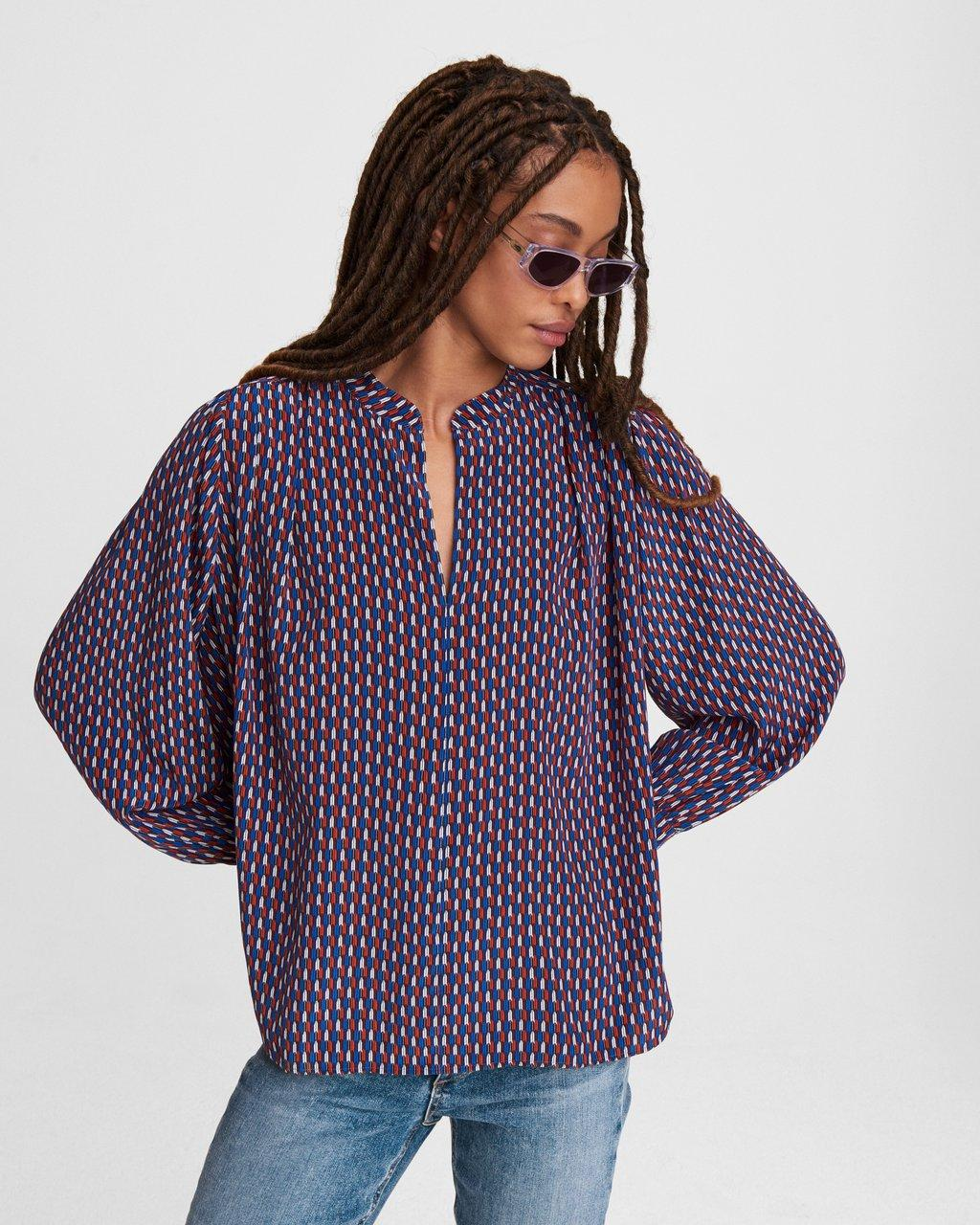 Carly Printed Silk Blouse