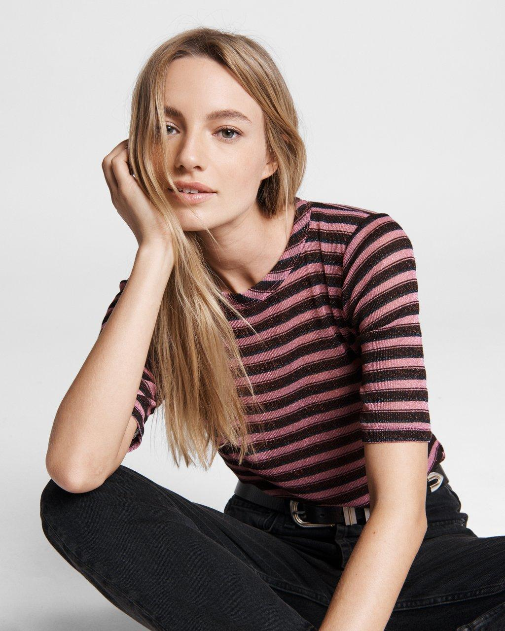 Striped Metallic Lurex Tee