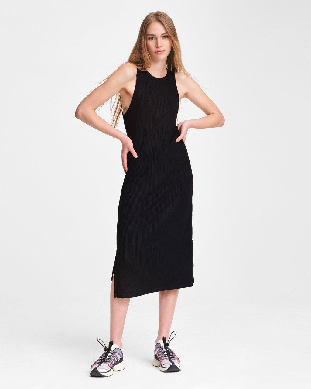 THE KNIT RIB ZIP MIDI DRESS