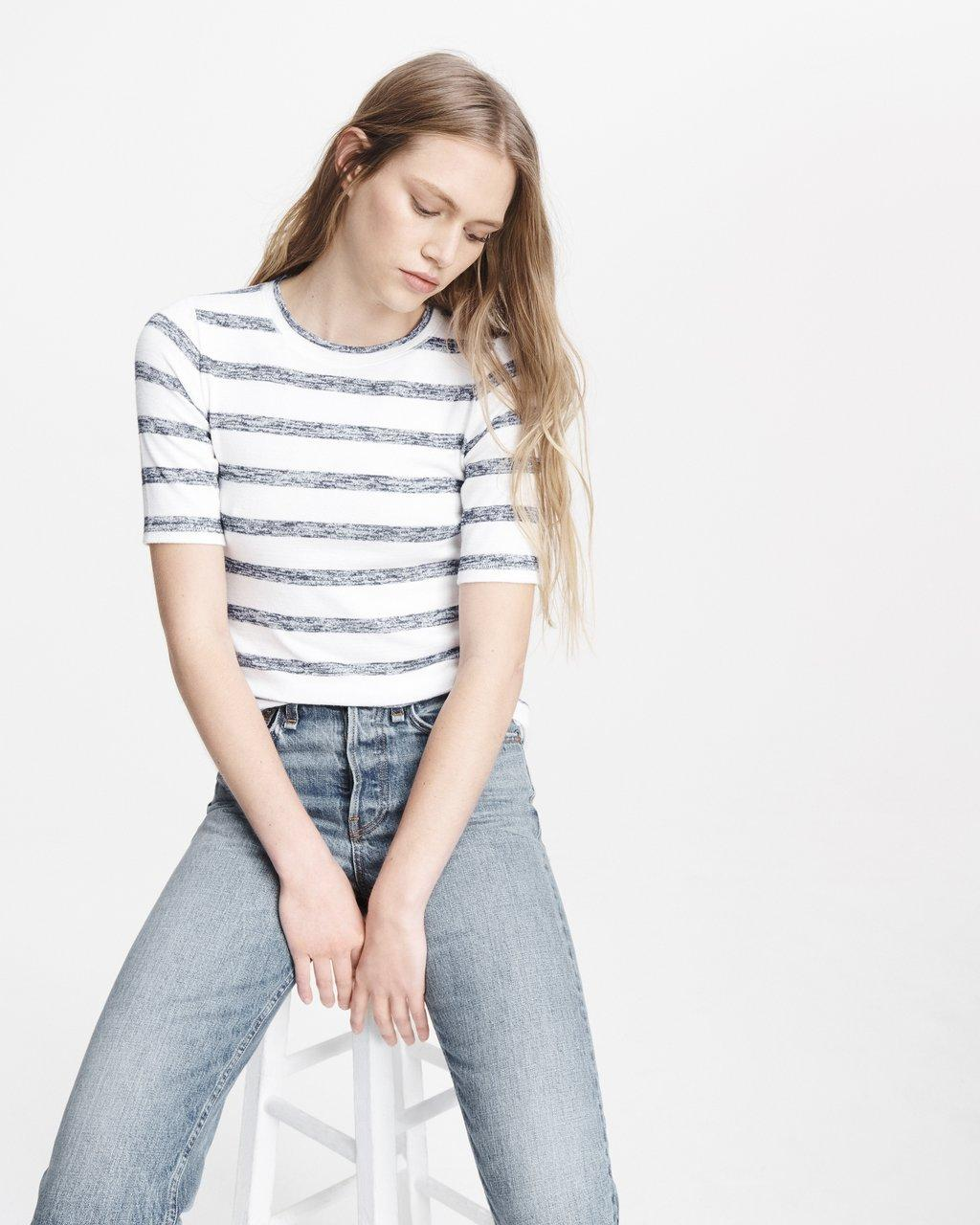 THE KNIT STRIPED SLIM TEE
