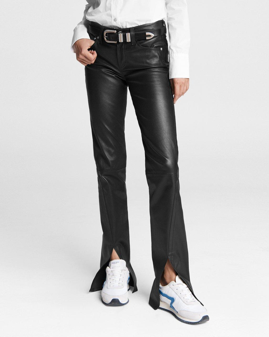 Cate Mid-Rise Leather Pant