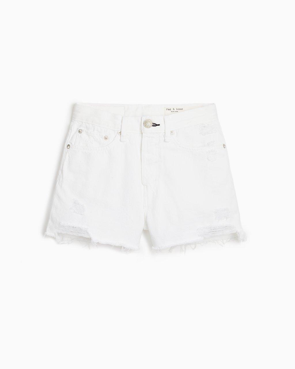 Maya High-Rise Short - Worn White With Holes