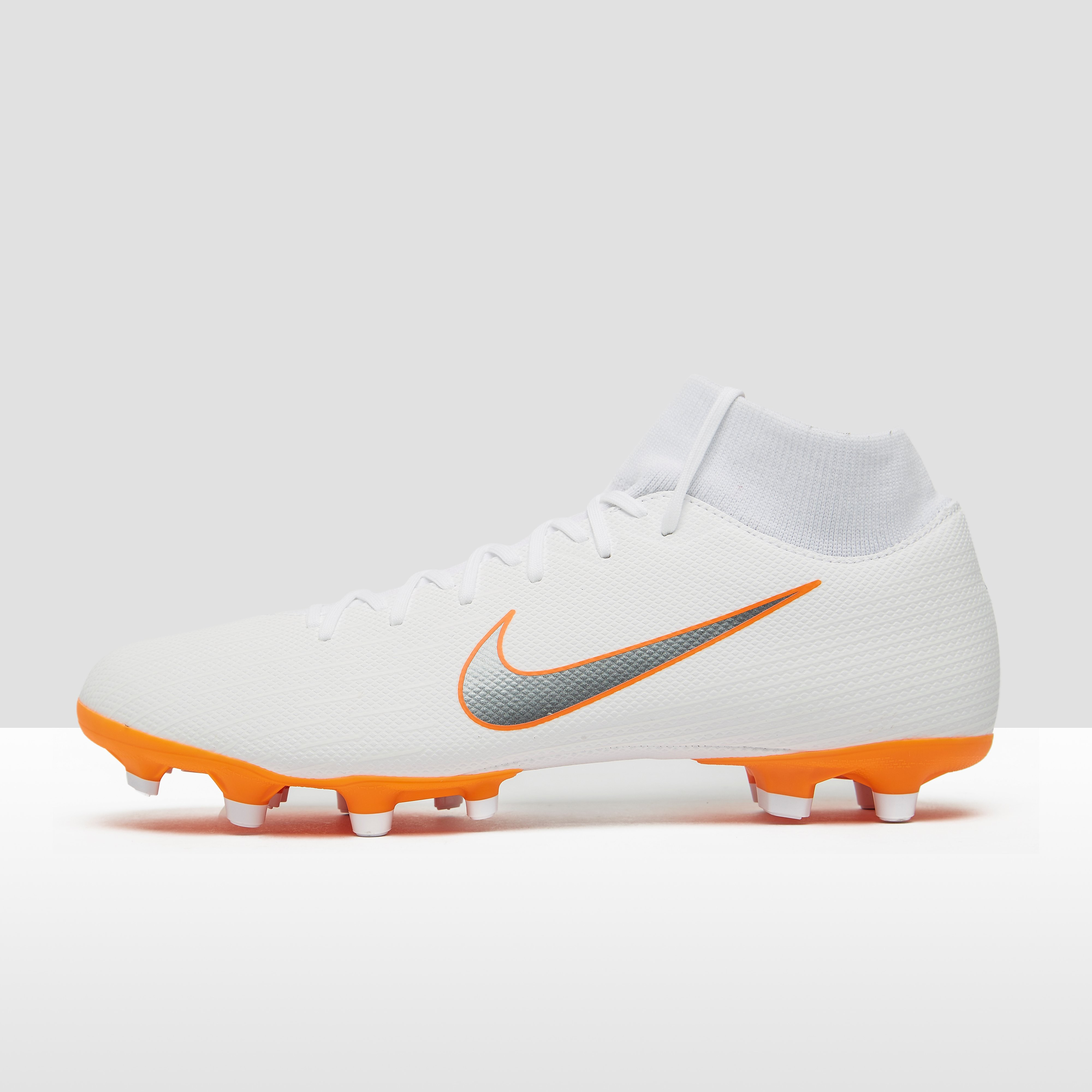 NIKE MERCURIAL SUPERFLY 6 ACADEMY FG/MG VOETBALSCHOENEN WIT/ORANJE