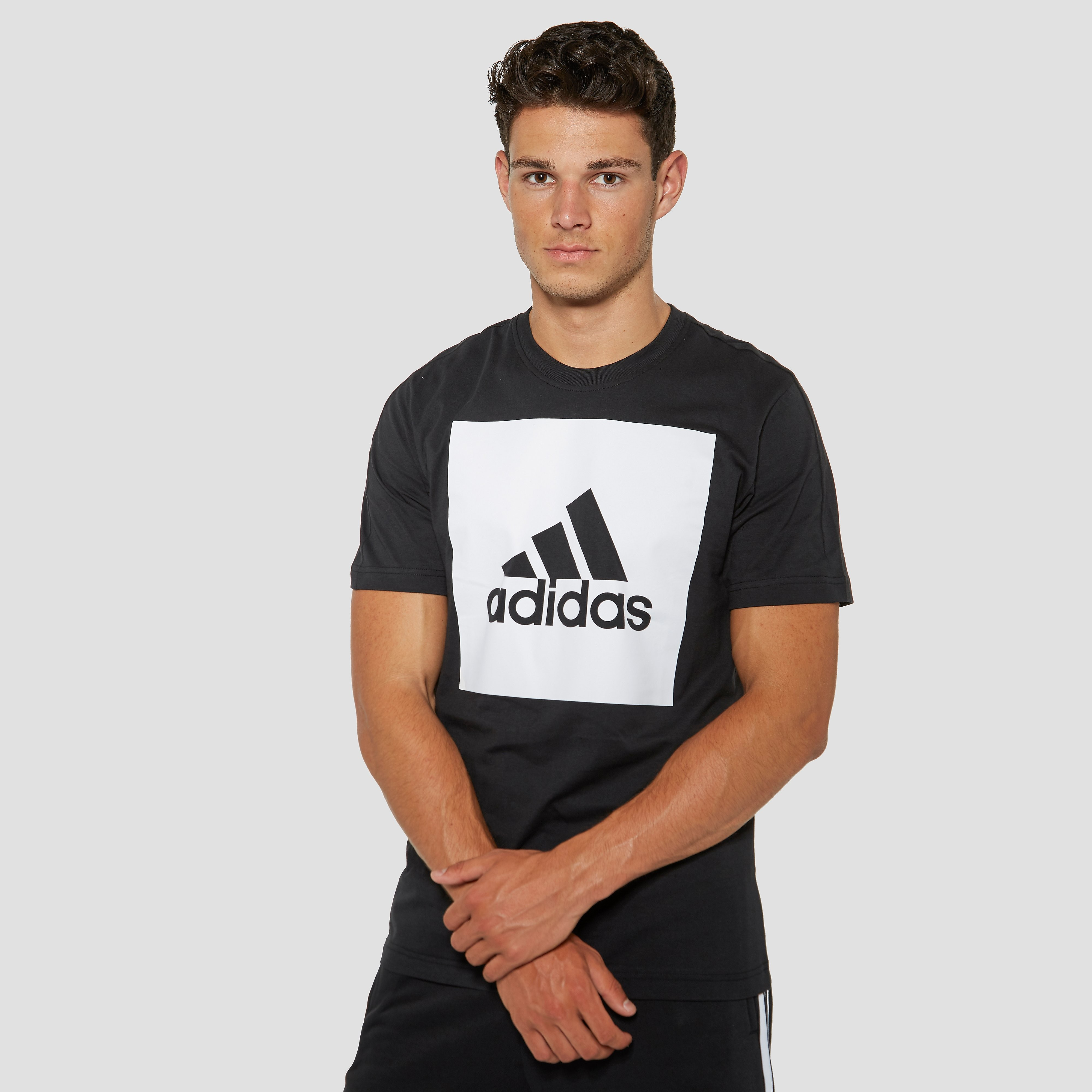 ADIDAS ESSENTIALS BIG LOGO SHIRT ZWART/WIT HEREN