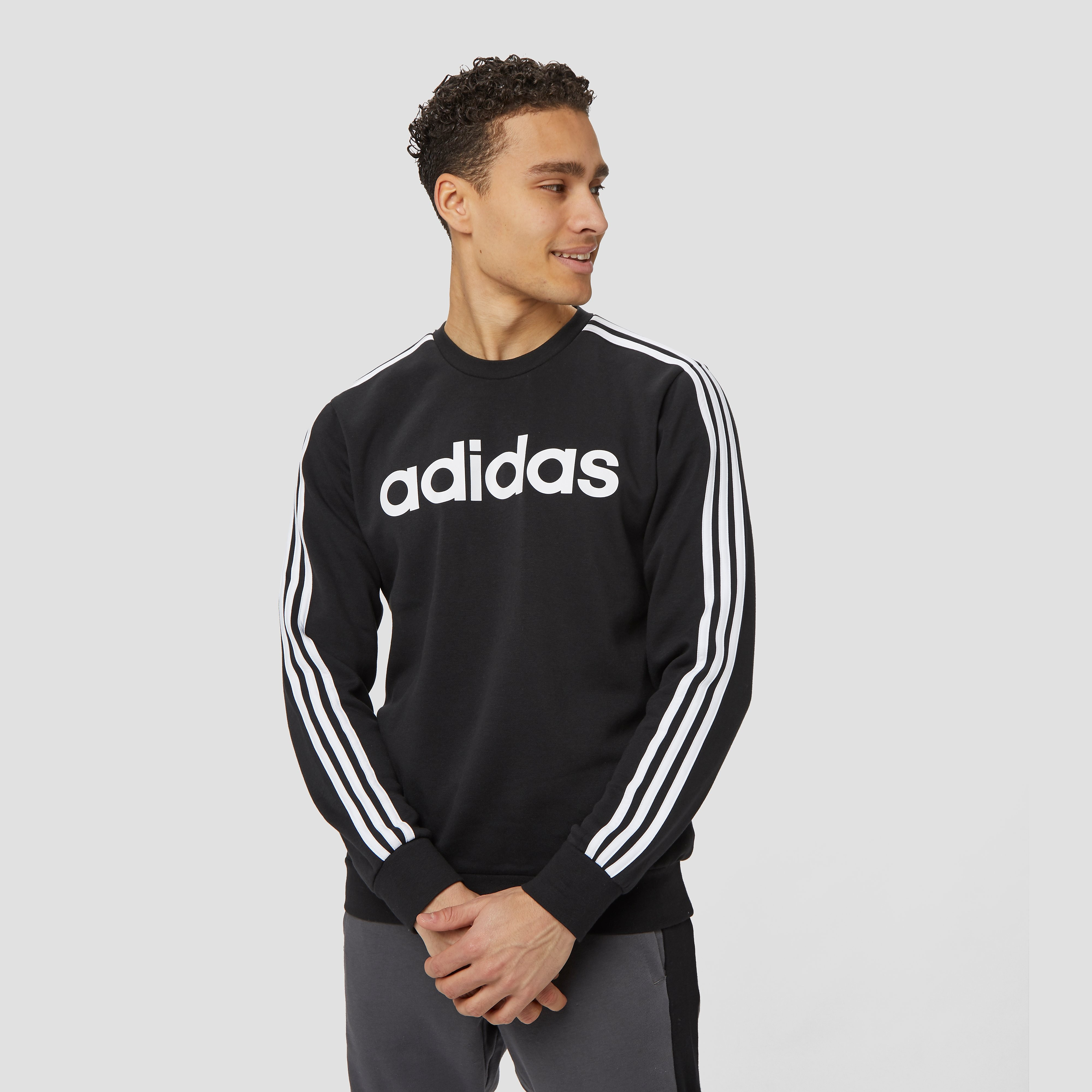adidas Essentials 3-stripes crew sweater zwart/wit heren Heren