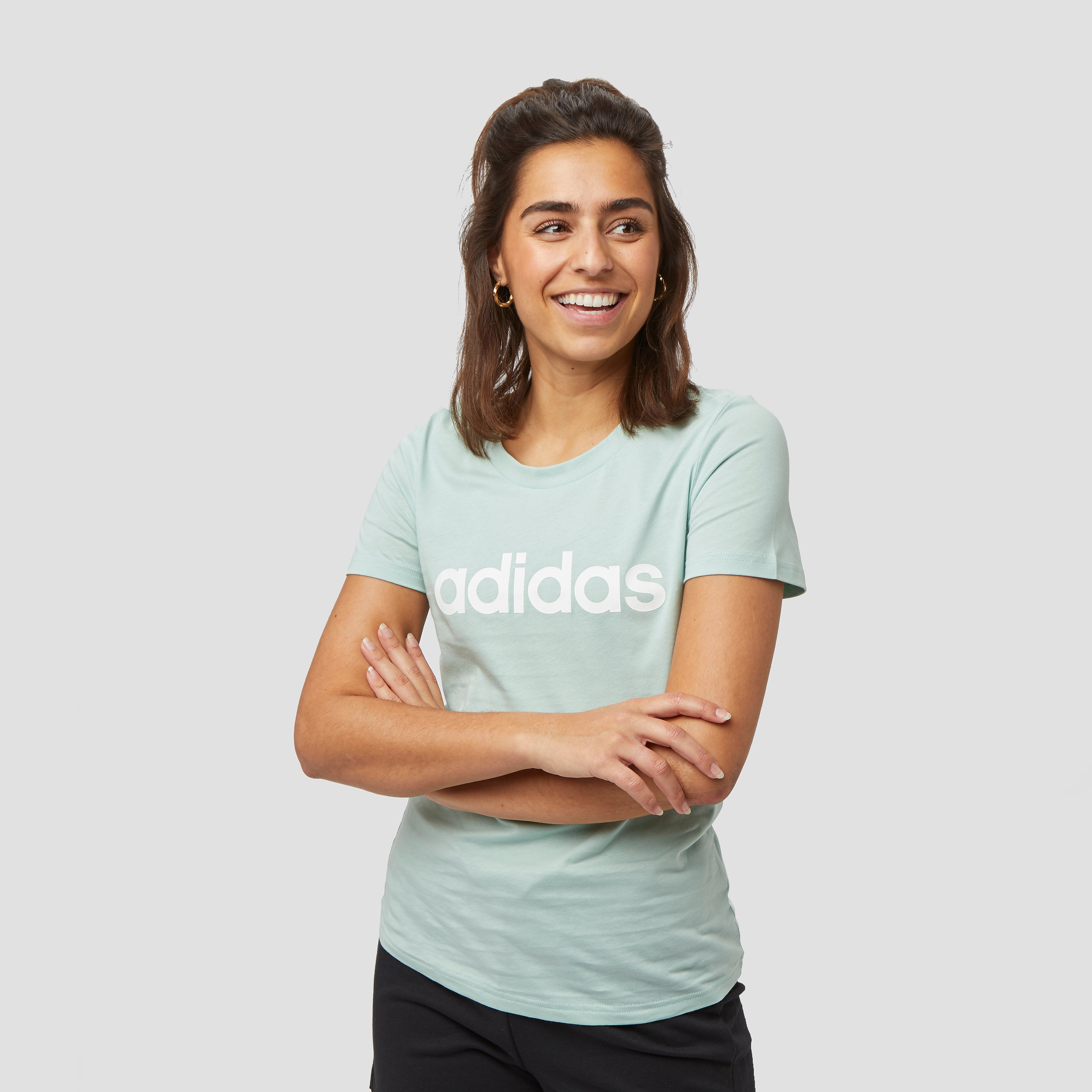 adidas Linear slim shirt groen dames Dames Gymnastiekwinkel.nl