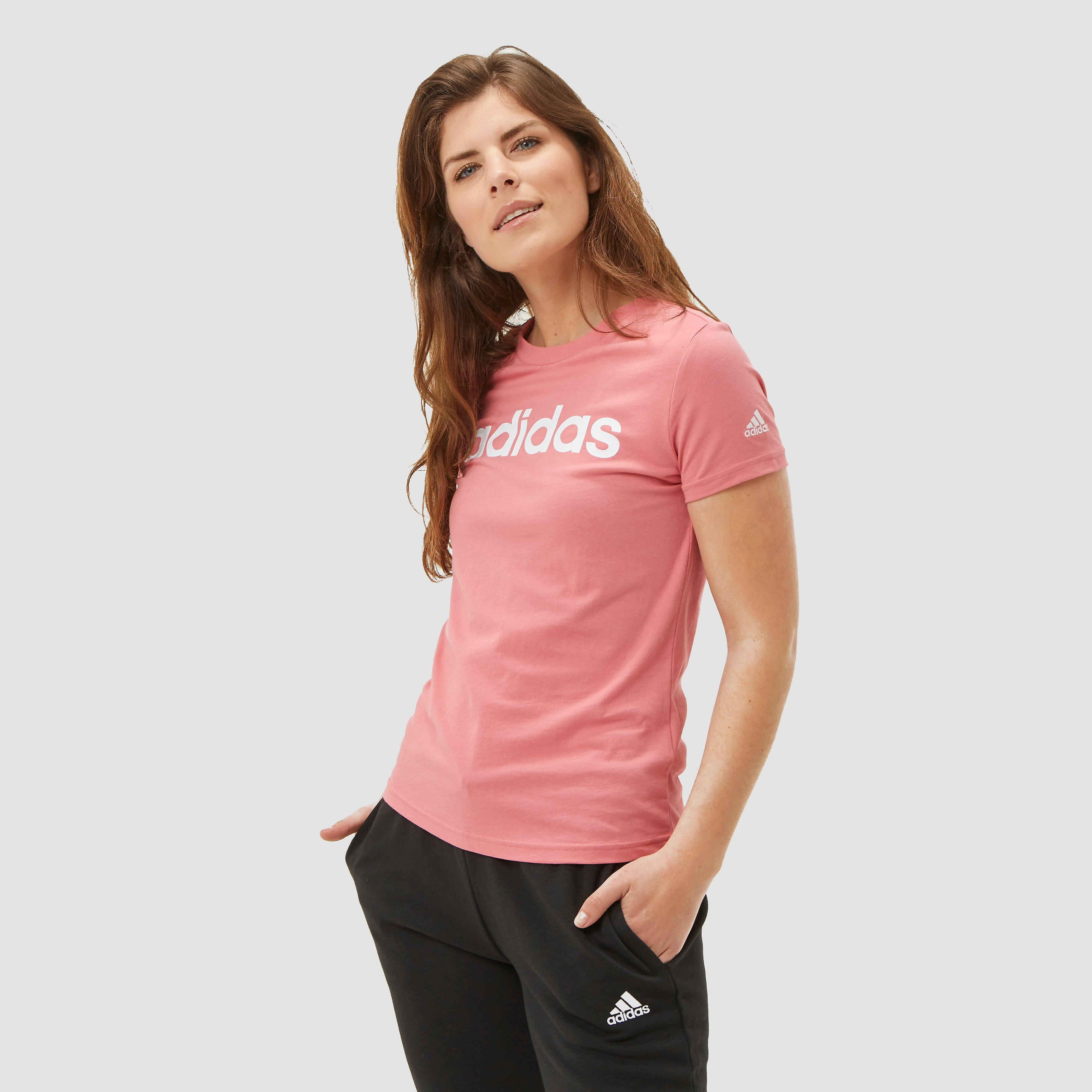 adidas Essentials linear shirt roze dames Dames
