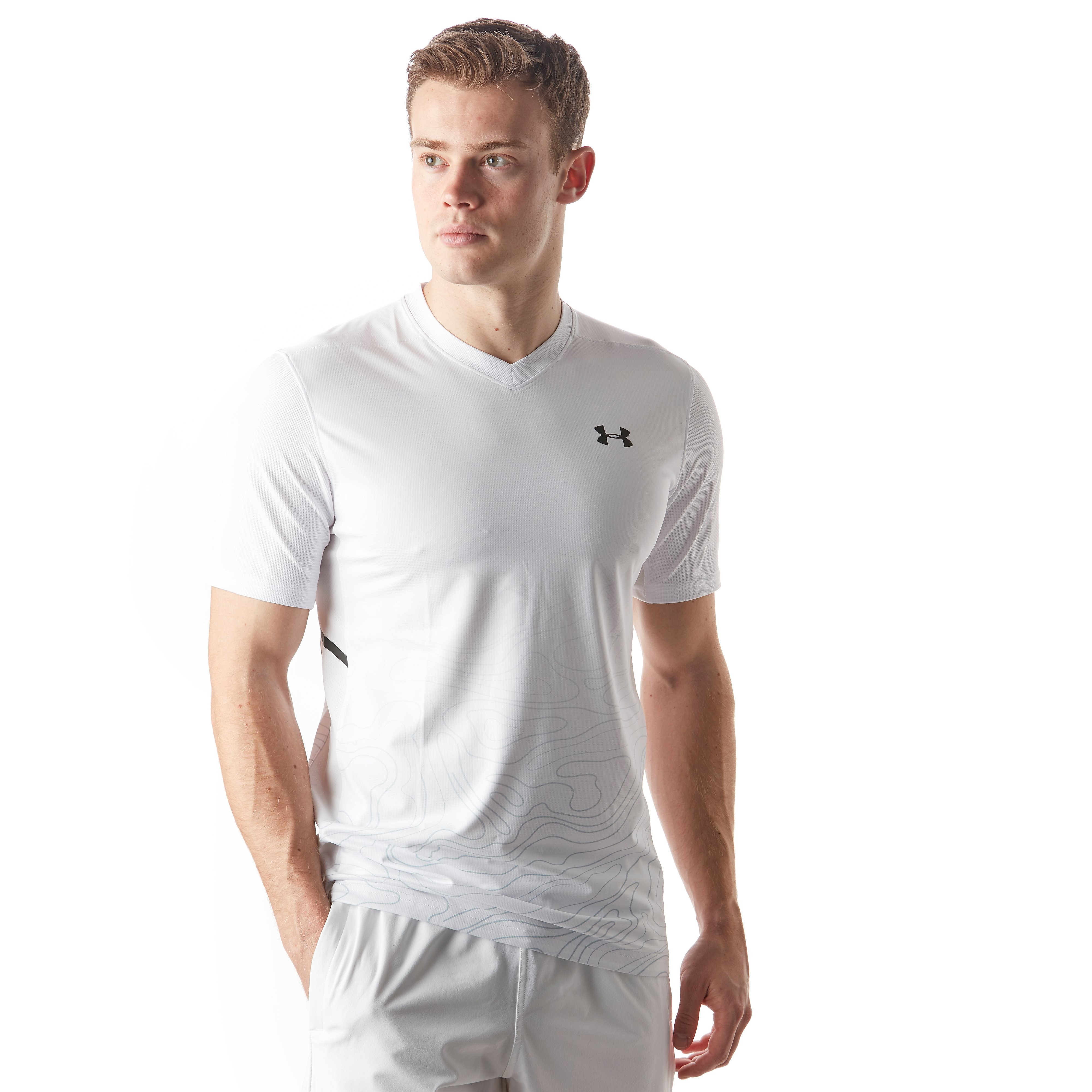 Mens White Under Armour Forge V-Neck Tennis T-Shirt
