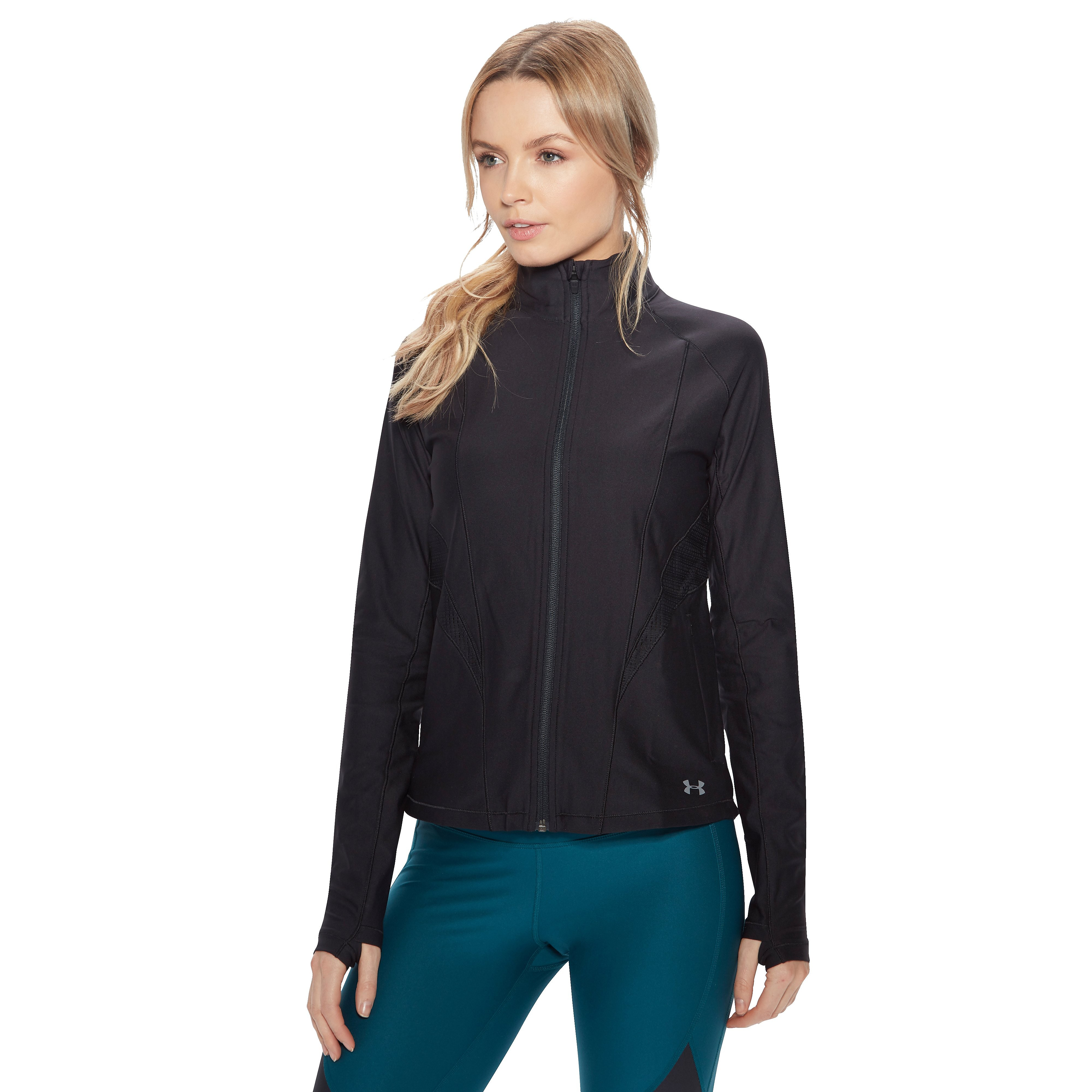 Women's Under Armour Balance Threadborne Full Zip Tech Top - Black, Black