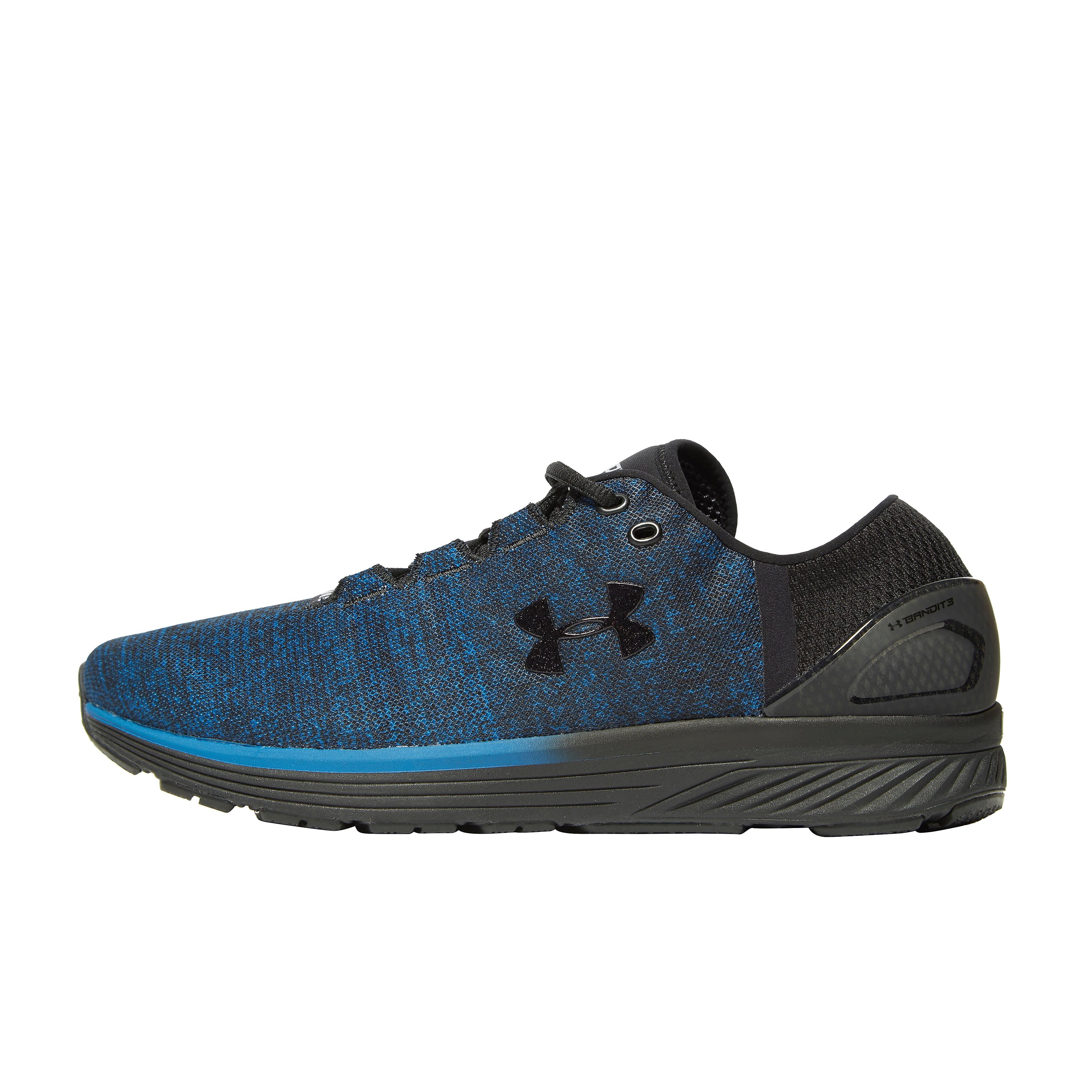 Men's Under Armour Bandit Running Shoes - Black/Blue, Black/Blue
