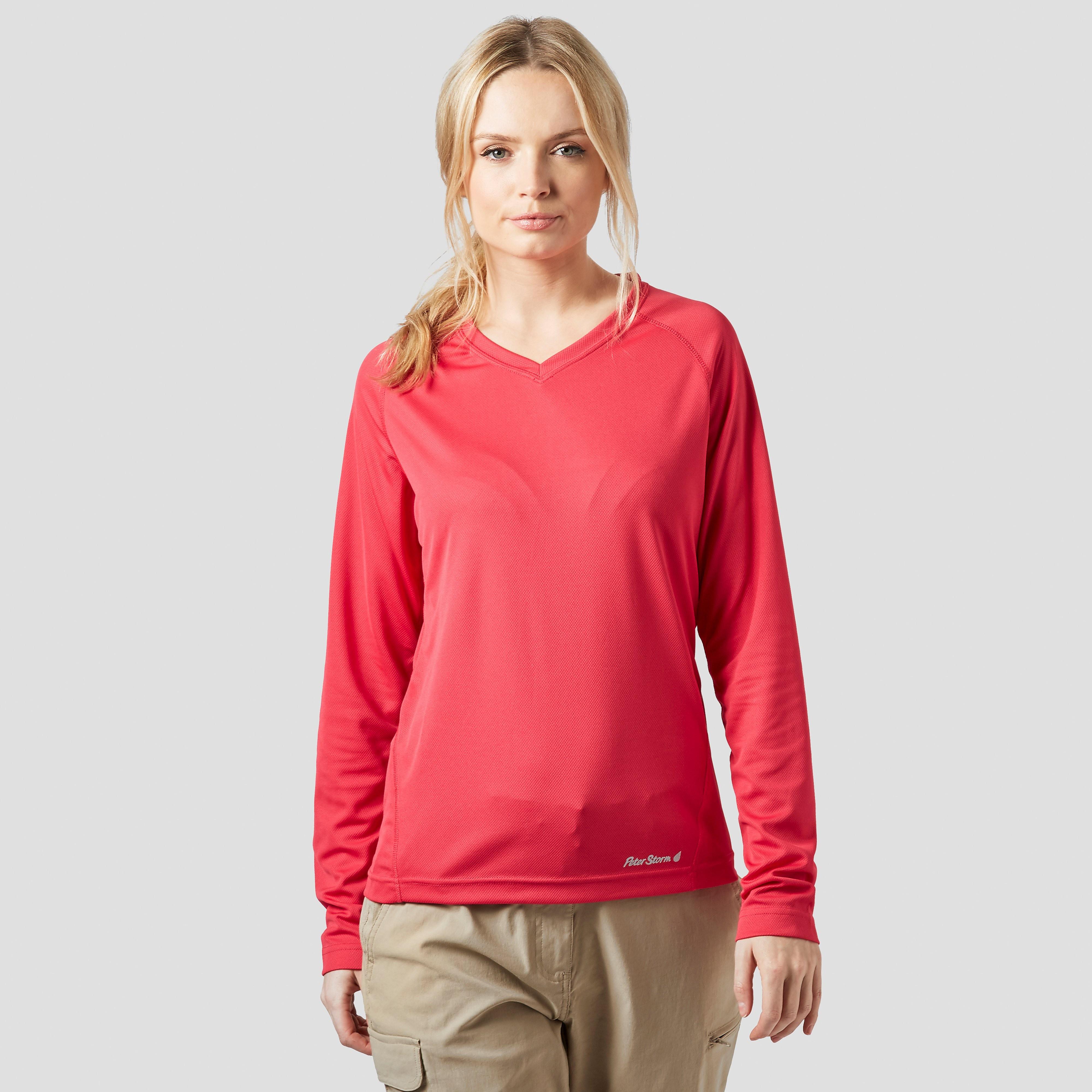 PETER STORM Women's Tech Long Sleeve V Neck T-Shirt