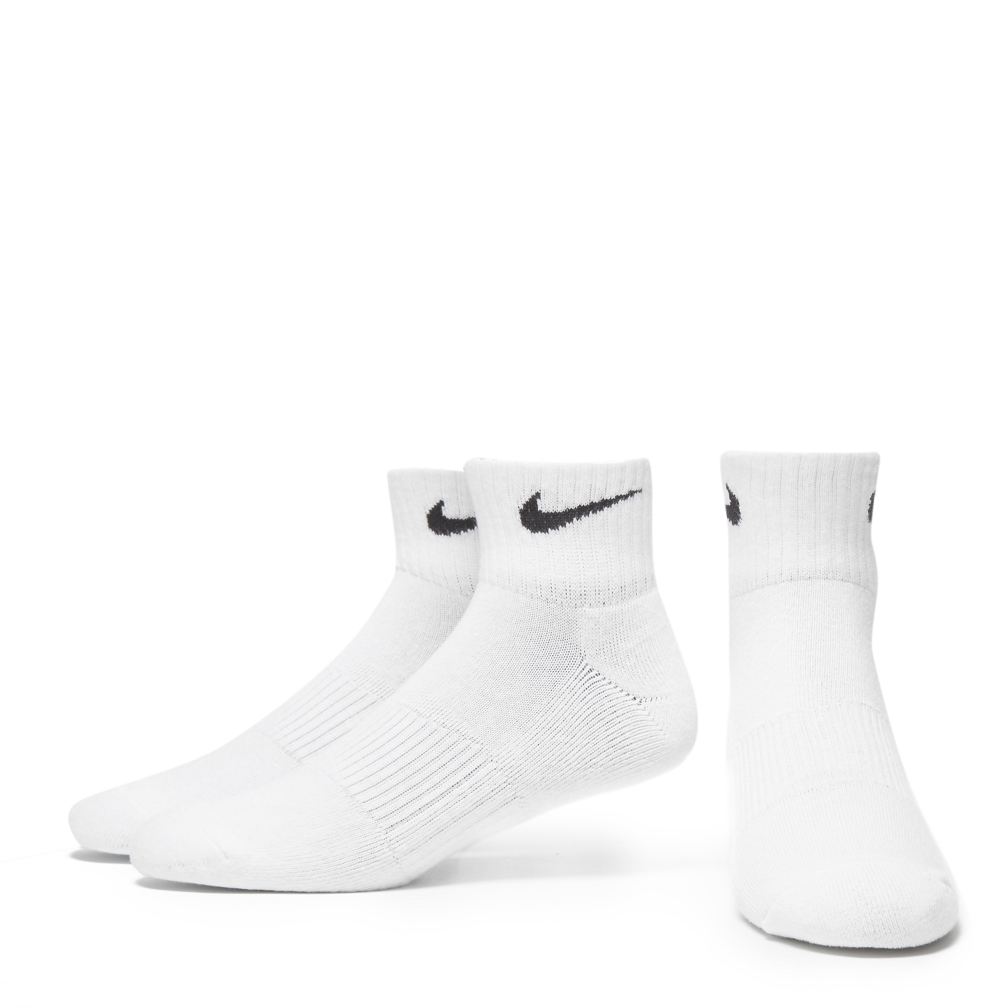 Nike 3 Pack Cotton Cushion Quarter Socks