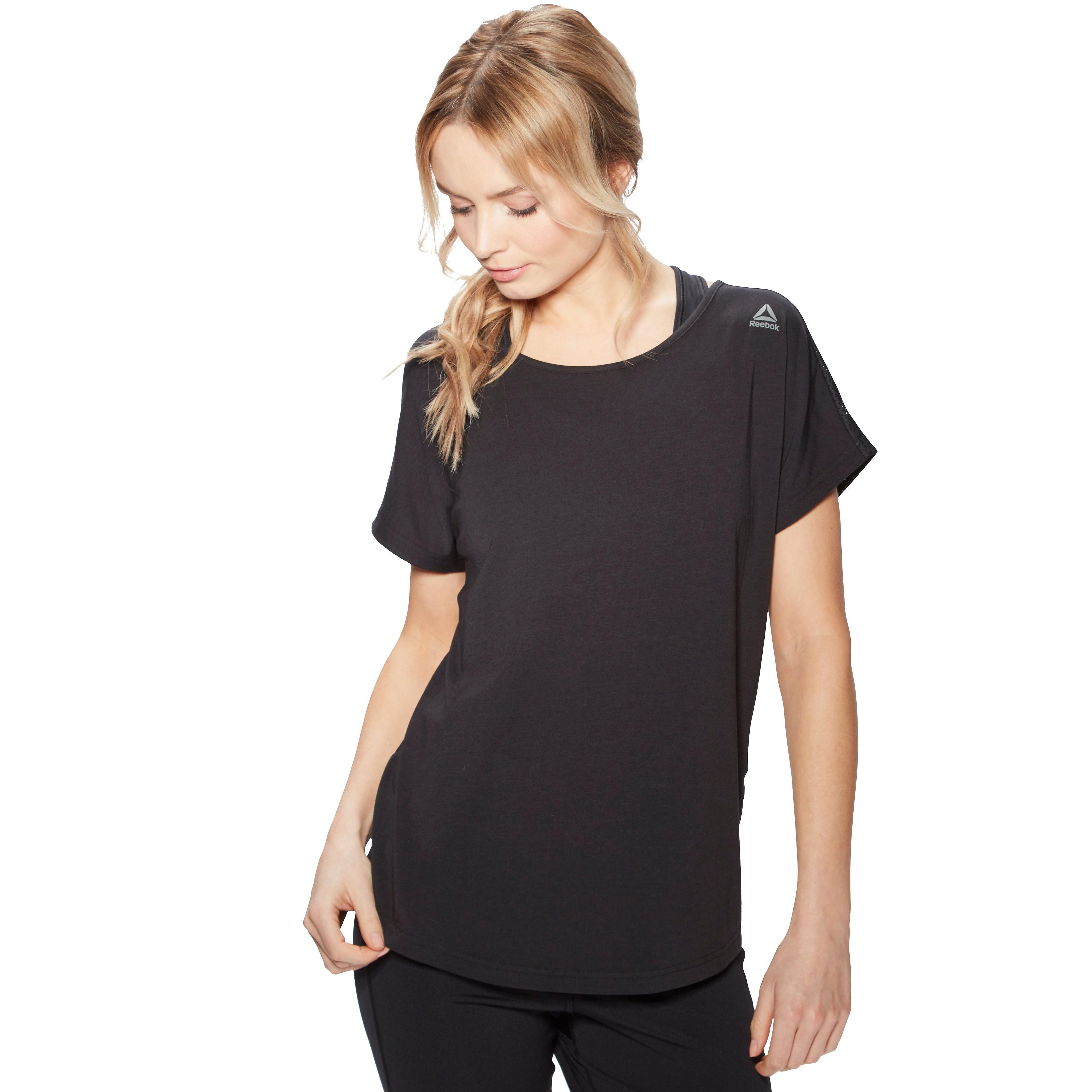 Women's Reebok Mesh Back T-Shirt - Black, Black