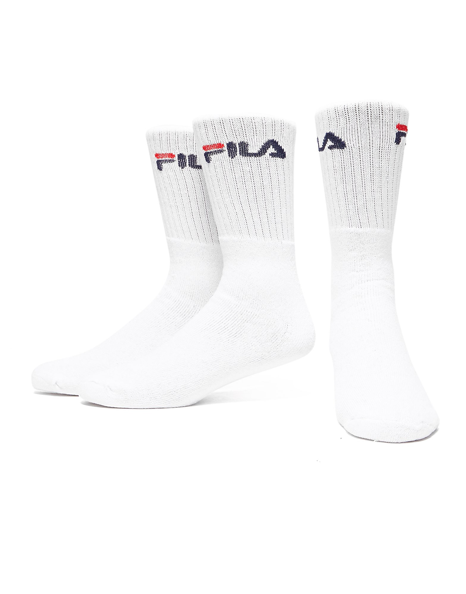 Mens White Fila Crew Training Socks (3 Pairs)