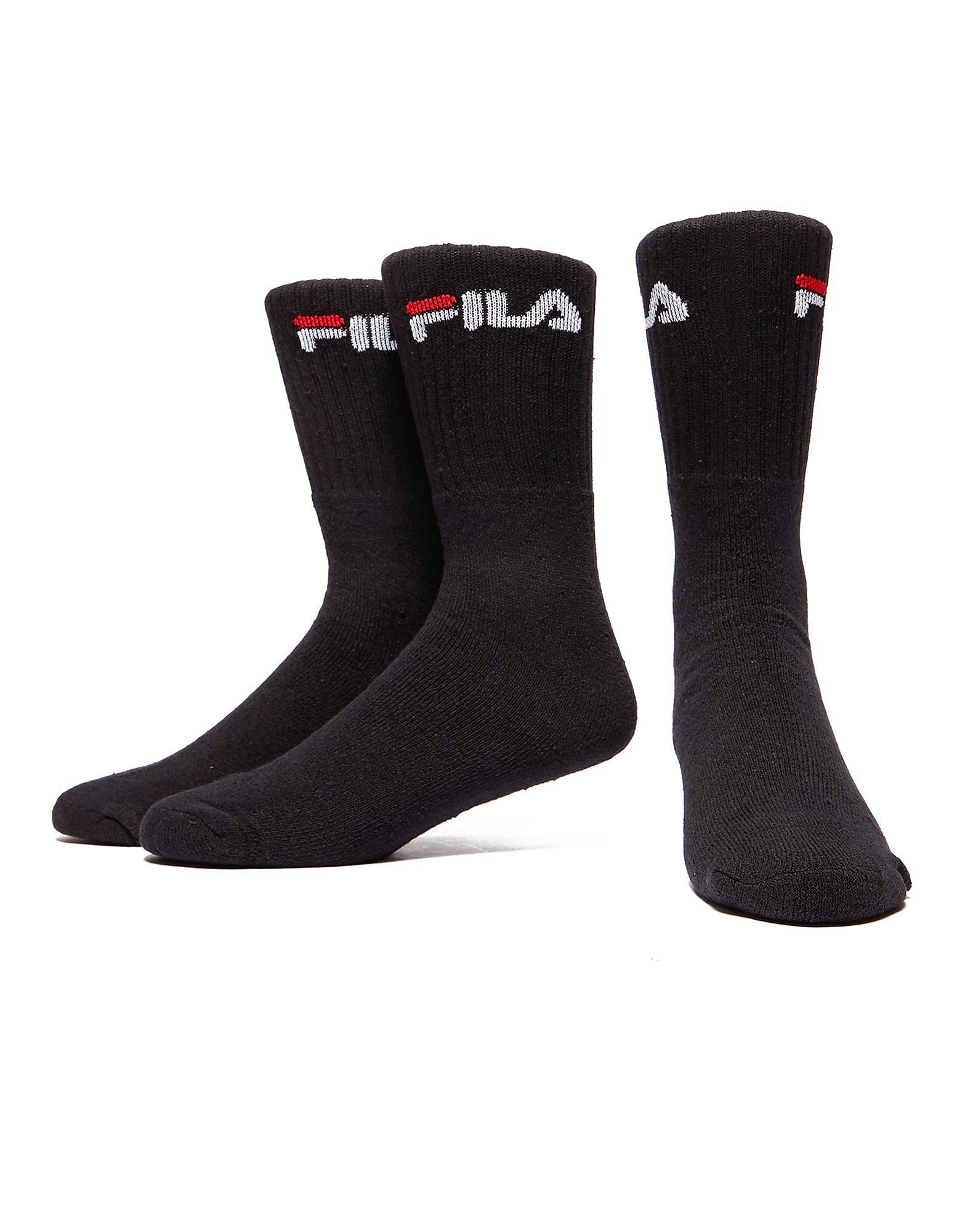 Mens Black Fila Crew Training Socks (3 Pairs)